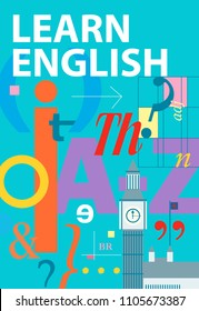 Learn english. English language cover. Textbook and notebook, poster with grammatical and phonetic symbols and Big Ben. Vector illustration. Education concept background