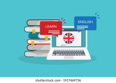 Learn English online on laptop computer. Study, education of foreign language lesson. internet learning course, lesson. Vector illustration.