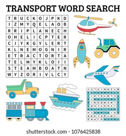 Learn English with a transport word search game for kids. Vector illustration.