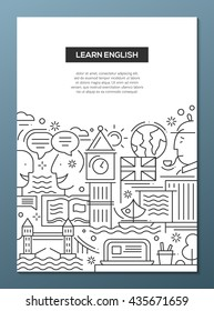 Learn English - vector line design brochure poster, flyer presentation template, A4 size layout with British famous symbols and landmarks
