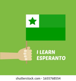 Learn Esperanto vector card, poster, illustration with person holding green esperanto flag in hand.