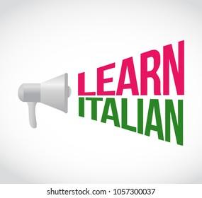 Learn italian loudspeaker message sign illustration design graphic over a white background
