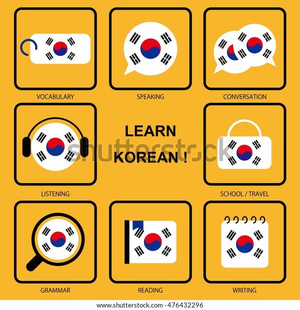 Learn Korean Icon Set Stock Vector (Royalty Free) 476432296