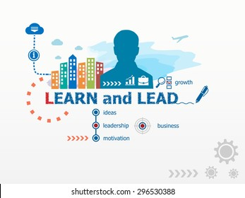 Learn and Lead concept and business man. Flat design illustration for business, consulting, finance, management, career.