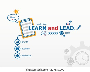 Learn and Lead concept and notebook for efficiency, creativity, intelligence. Hand writing Learn and Lead with blue marker