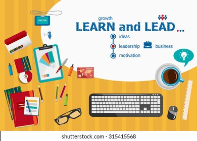 Learn and Lead and flat design illustration concepts for business analysis, planning, consulting, team work, project management. Learn and Lead concepts for web banner and printed materials.