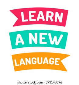 Learn a new language, motivation. Flat vector ribbon icon, symbol, design illustration on white background.