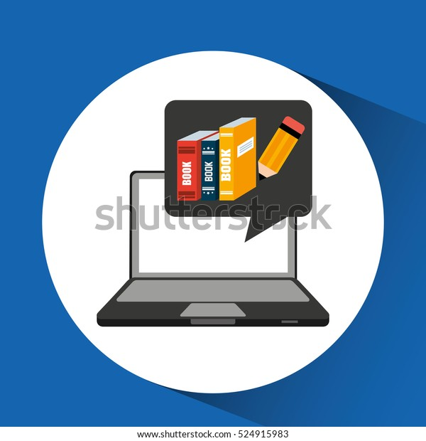 Learn Online School Books Writing Vector Stock Vector