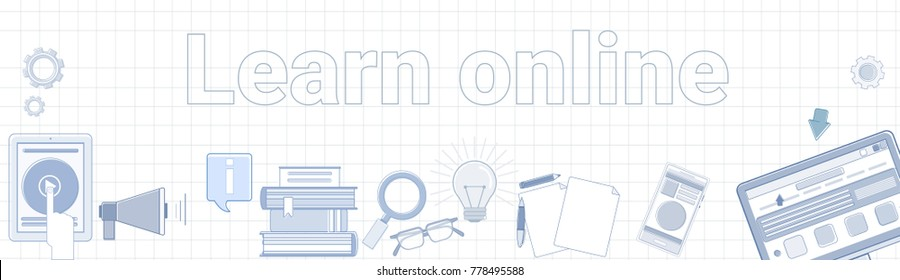Learn Online Word On Squared Background Horizontal Banner Elearning Education Concept Vector Illustration
