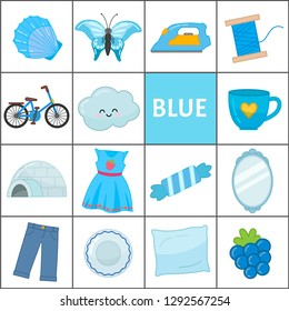 Learn the primary colors. Blue. Different objects in blue color. Educational material for children and toddlers.