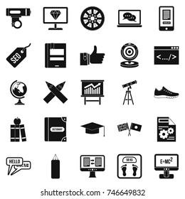 Learn programming icons set. Simple set of 25 learn programming vector icons for web isolated on white background