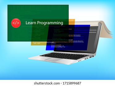 Learn programming languages - laptop and book mix - e-learning language and coding computer program.