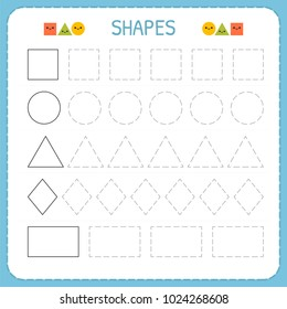Learn shapes and geometric figures. Preschool or kindergarten worksheet for practicing motor skills. Tracing dashed lines. Vector illustration