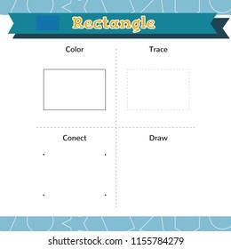 Learn shapes and geometric figures. Preschool or kindergarten worksheet. Vector illustration