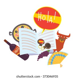 """Learn Spanish illustration for language school. Open book with bubble """"hola"""" (hello in Spanish). Good for language philological journals and magazines. With traditional Spanish symbols."""