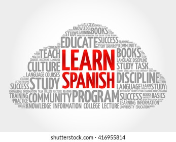 Learn Spanish word cloud, education business concept