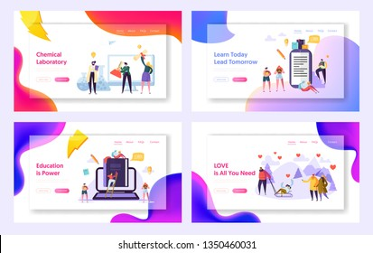 Learn Today Lead Tomorrow Landing Page Set. Chemical Laboratory Research Center. Education is Power for Character. Love Save World Website or Web Page. Flat Cartoon Vector Illustration