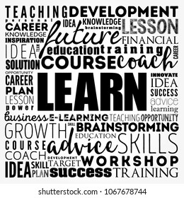 LEARN word cloud collage, education concept background