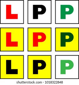 Learner L Plate And Provisional P Plate, L-Plate, P-Plate, New Driver Sticker Vector Art Illustration