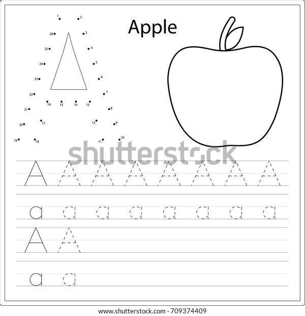 Learning Alphabet Worksheet Game Kids Children Stock Vector ...
