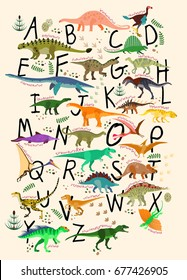 Learning Alphabets With Dinosaurs. ABC Dinosaurs.