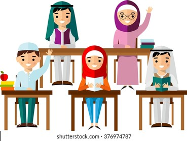 ?oncept of learning with arabian school children at the table in national clothes.  Set of arabic pupil in flat style.