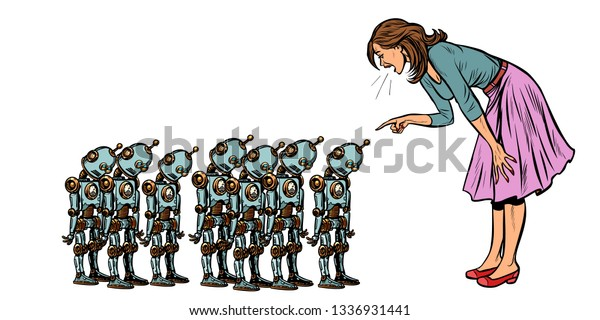 learning artificial intelligence concept, woman swears at small robots. Pop art retro vector illustration vintage kitsch 50s 60s