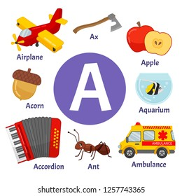 Learning card alphabet. Letter A. Set of cute cartoon illustrations.