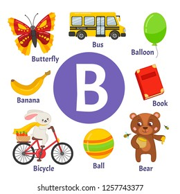 Learning card alphabet. Letter B. Set of cute cartoon illustrations.
