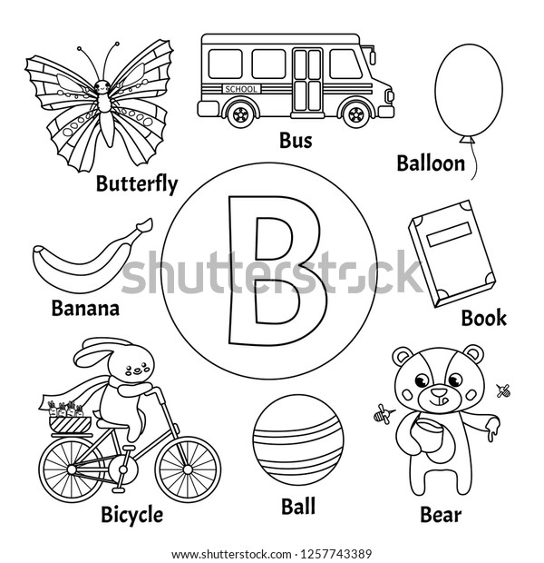 Learning Card Alphabet Letter B Set Stock Vector (Royalty ...