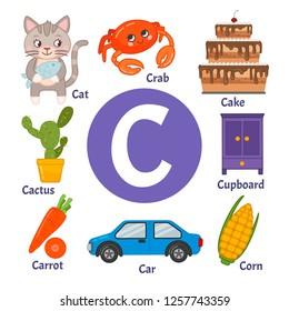 Learning card alphabet. Letter C. Set of cute cartoon illustrations.
