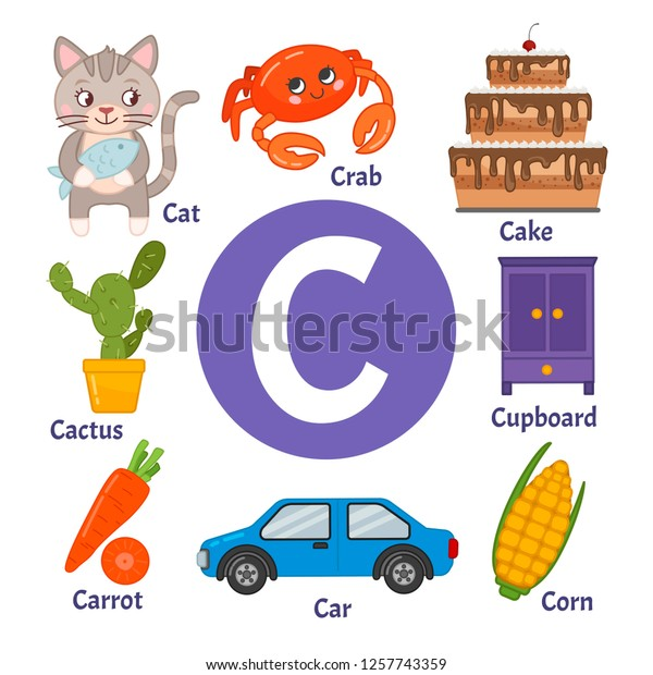 Learning Card Alphabet Letter C Set Stock Vector (Royalty Free ...