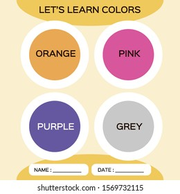 Learning circle shapes with color for kids education. Orange, pink, purple, grey. Special for preschool kids. Activity Worksheet. Orange background.