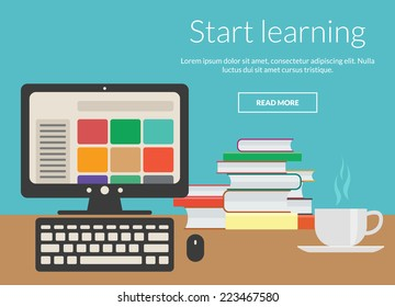 Learning concept with coffee, books and computer. Vector elements design for online advertising