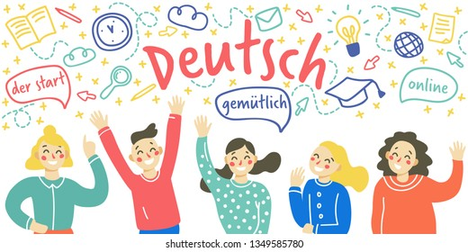 Сoncept of learning Deutsch language. Group of happy children waving their hands. Vector illustration in flat and doodle style