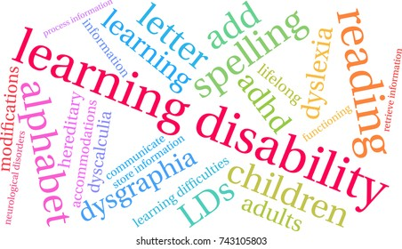 Learning Disability word cloud on a white background.