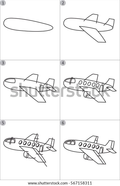Learning Drawing Children Step By Step Stock Vector Royalty Free