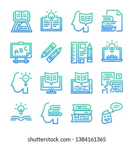 Learning Education gradient vector icon set