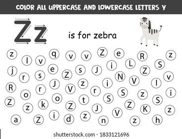 Learning English alphabet. Color all letters Z. Educational worksheet for school and kindergarten. Z is for zebra.