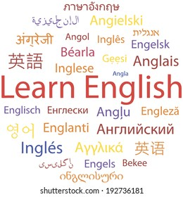 Learning English, different languages. Vector.