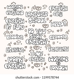 Learning English educational black and white phrases and words. Language school lettering - phrases and expressions, terms about study English. I love English, Language School, Grammar and other words
