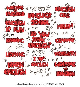 Learning English educational lettering - colored phrases and words. Language school lettering - phrases and expressions, terms about study English. I love English, Language School, Grammar and other