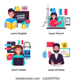 Learning english french italian chinese with language center advanced training 4 flat advertisement compositions isolated vector illustration