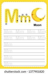 Learning English vocabulary , Exercises for kids, Alphabet M exercise with cartoon vocabulary illustration, A4 paper ready to print. Moon