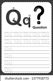Learning English vocabulary , Exercises for kids, Alphabet Q exercise with cartoon vocabulary illustration, A4 paper ready to print. Question mark