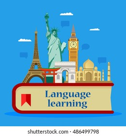 Learning foreign languages. Language School. Vector illustration, flat design