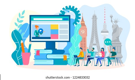 Learning foreign languages online in a group. Webinar on learning foreign languages. Vector illustration.