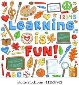 Learning is Fun Back to School Classroom Supplies Notebook Doodles Hand-Drawn Illustration Design Elements on Lined Sketchbook Paper Background