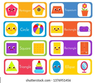 learning geometric shapes for kids. Flashcards set wtih forms and objects. Educational material for children, kids, toddlers. Circle, square, triangle and other basic shapes in life