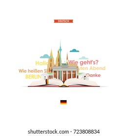 Learning German. Illustration with the image of an open book, Cologne Cathedral, Berlin TV tower, Brandenburg gate and German words and expressions.
